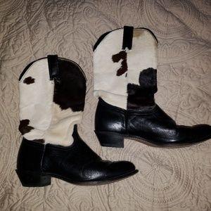 Durango Cowhide/fur Cowboy Boots Black and Cream